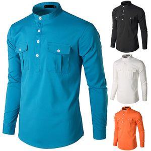 Tasche della camicia casuale degli uomini Grandad Collar formale camicie eleganti camice casuali Plain Top Slim Fit Camicia Uomo