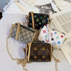 Bolsos para niños imprimir Mini monedero cilindro Bolsos de hombro mezclar color Niñas Bolsas de mensajero Regalo lindo