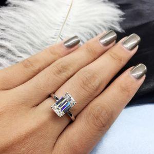 AEAWLuxury 3carat Moissanite Ring Solid 18K White Gold Engagement Ring Emerald Cut Lab Grown Diamond Wedding Ring For Women T200701