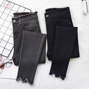 Women 2019 Jeans High Elastic Stretch Jeans Female Washed Denim Skinny Female Ankle Pencil Pants Stretch Streetwear Trousers
