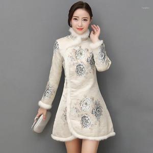 Çin Tarzı Cheongsam Kadınlar Mizaç Peluş Çiçek Baskı Elbise Çin Stil Qipao 2020 NEW1