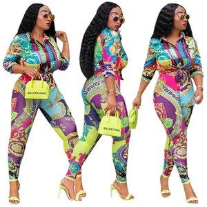 Geben Sie Schiffs-Frauen-Art- und Weisedruck-Revers-Ansatz-Hemd und Hosen-Satz-Dame Outfits Casual Slim Two Piece Set frei