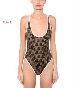 2019 atractivo del verano trajes de una pieza del traje de baño para las mujeres del bikiní de la marca de moda traje de baño con letras FF Señora sin respaldo de baño 2 estilos S-XL