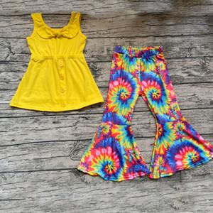 Bella del bambino della neonata del capretto vestiti di cotone delle parti superiori con l'arco Tie-dye Campana pantaloni inferiori Outfits 2pcs Boutique bambini Set di abbigliamento T200707