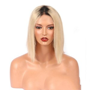bob 613 Blonde Lace Front Wig, Straight Transparent Lace Human Hair Wigs
