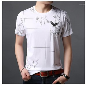 Short Sleeve Crew Neck Mens Tops Fashion Pullover Casual Tees Designer Solid Color Printed Tshirts Slim