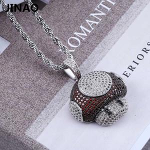 Jinao New Fashion Iced Out Pilz Halskette Anhänger Kupfer Bicolor Kubikzircon Halskette Hip Hop Herrenschmuck Geschenke Y19050802