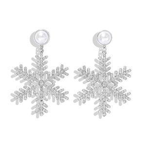 venta al por mayor Crystal Snowflower Stud pendientes para mujer Pearl Brincos Christmas Gift Femme Silver Earring
