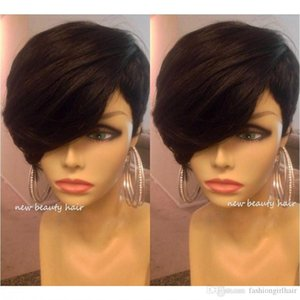 Short cut human hair bob wigs best human brazilian none lace front wig with baby hair glueless wigs with bangs for black women