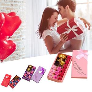 Goldrosen-Seifen-Blumen-Geschenk-Box Valentinstag Muttertag Hochzeitstag-Partei-Geschenk 12pcs Seifen-Blumen-Set