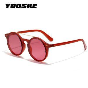 YOOSKE Women Men Round Sunglasses Retro Brand Designer Classic Hip Hop Style Sun Glasses Double Bridge Red Frame Eyewear UV400