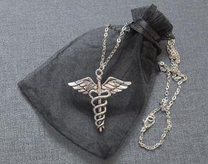 الأزياء والمجوهرات خمر الفضة صولجان هرمس قلادة طبيب EMT الطبية رمز قلادة قلادة مجوهرات صديق جيد، سلسلة الترقوة هدية 500