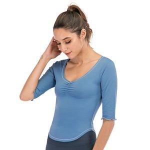 LU profunda V Neck Energia Sport Top meia manga plissada Mulheres Yoga capuz Ondas Cuff Primavera aptidão camisetas Vestuário 60lye E19