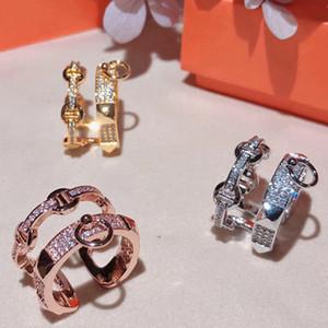 LMYFashion Jewelry S925 Silber überzogener H-Letter-Ring mit Zirkon-Inlay und platiert 18 Karat luxuriöser und vielseitiger Mode-Ball-Dame-Ring