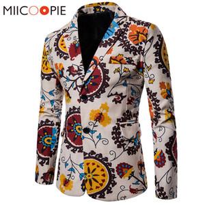 Homens Blazers 2018 New Men Suit Jacket Algodão Linho Nacionalidade Brasão Floral Impresso Casual Jacket Blazer Masculino 4XL