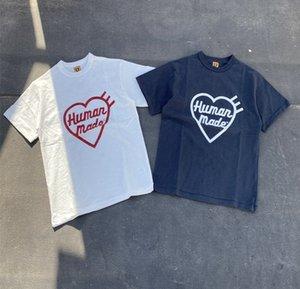 20ss Oversize HUMAN MADE T shirt Мужчины Женщины лучшее качество Slub хлопок топ тройники уличная хип-хоп человек сделал футболку с коротким рукавом тройник