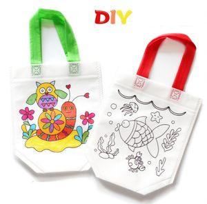 Kids DIY Graffiti Bag Kindergarten Environmental Handbag Toddler Coloring Training Painting Storage Bggie children gifts 12 styles