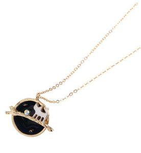 Wholesale-18K Vergoldung Fairy Tale Cute Cat Star Planeten Anhänger Halsketten für Mädchen Fitting als Geschenk