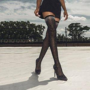 2019 Fashion Runway Crystal Stretch Fabric Calcetín Botas Punta puntiaguda Sobre la rodilla Tacón Muslo Punta alta Punta Mujer Bota