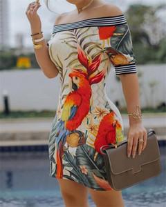 Progettista delle donne Slash Party Dress signore vestito dal collo donne sexy abiti stampati digitali
