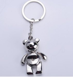 10cm Bear Keychains Lovely Zinc Alloy Animal Teddy Bear Key Chain Gift for Girl Key Rings Keyring Jewelry Pendant Bag Charms