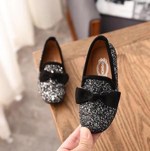 Kızlar Prenses Bow Moda Pullarda Glitter Deri Çocuklar Flats Çocuk loafer'lar Parti Düğün Halloween Shoes