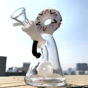 Bunte Beaker Bong Einzigartige Glas Bongs geschlitzt Donut pro Bohrinsel Dab Rigs Netter Glas Wasser Bong Mini Wasserrohre Mit Bowl XL-327