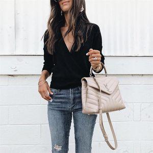 Printemps V Neck Femmes Solid Color Pulls manches longues lambrissé femmes Fashion Business Vêtements
