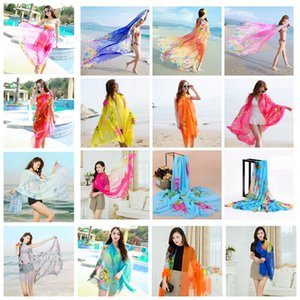 Women Chiffon Scarves Floral print Scarf Soft Summer Towel Shawl Outdoor beach bikini cover Wraps Sunscreen LJJA2478