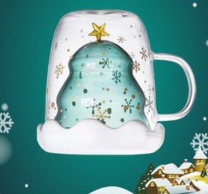 Weihnachtsbaum-Cup Glas-Tassen Heat Resistant Double Layer Gläser Bottes Frühstück Tasse Milch Individuelles Trinken Becher mit Deckel neuer GGA2689