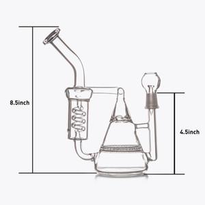 Glasbongs HoneycombTornado Percolator Zwei Funktionen Recycler Bohrinseln Wasserpfeifen Dome-Nagelgelenk 14.wmm Günstig auf Lager Pfeifen 23cm