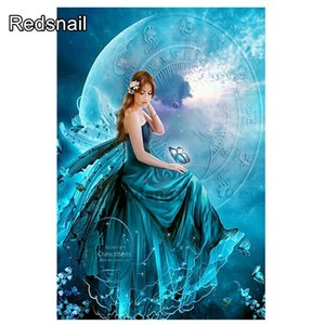 Diamond Embroidery Diamond Painting Full Square Diamond Mosaic Blue Moon Fairy Picture Of Rhinestones Home Decoration TT665