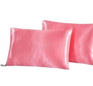 tela de seda imitada funda de almohada Ropa de cama de almohada Smooth Inicio de seda satinada caja de la almohadilla de cama almohada Inicio decoración LJJK1795