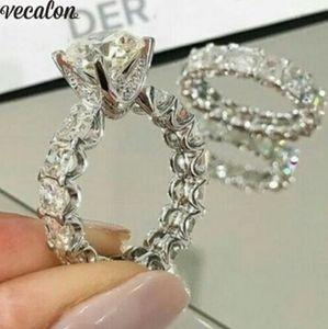 Vecalon 빈티지 약속 반지 세트 여성을위한 925 스털링 실버 다이아몬드 약혼 웨딩 밴드 반지 Bridal Finger Jewelry