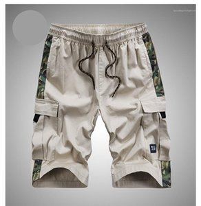 Shorts Casual Fashion Loose Male Pants Relaxed Knee Length Summer Comfortable Shorts Multipocket Camouflage Drawstring Mens