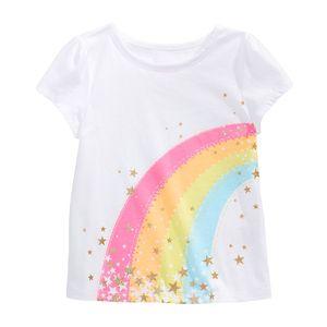 Little Shop maven shirt do bebê meninas camisetas para algodão de manga curta Crianças Rainbow Star Girls Crianças rosa Roupa Y200704