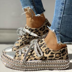 Kadınlar Sonbahar Sneakers Kadın Tuval Seksi Leopard Çapraz Lace Up Bayanlar Rivets Düz Konfor Şık Kadın ayakkabı Sıcak Satış Moda