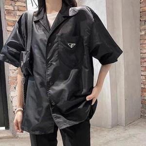 2020 Европейская Американские мужской классического случайный дизайнер блузка стороны письмо печати лацкана полосатых короткий рукав удобной дикая клетчатая рубашка