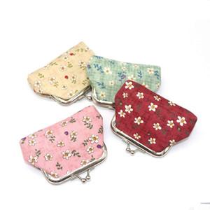 Mini Floral Buckle Geldbörsen Vintage Pouch Kiss-Lock Geldbörse Portemonnaies kleine Clutch Bag