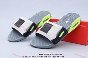 Nike Air Max 90 flip flop xshfbcl 2020 90 diapositivas de humo gris Volt Negro Blanco Rosa Gris frío mujer de los hombres de los 90 Blanco Negro Inicio Zapatos Casual Tamaño 36-45