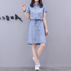 Large cotton and linen loose dress showing thin temperament collar linen shirt skirt woman