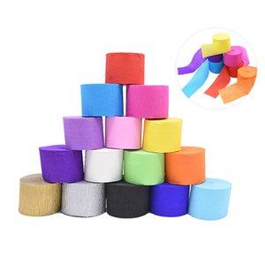 mucchio Paper Craft 1Roll 4.5cm * 25M all'ingrosso Mulitcolor rughe Crepe Craft carta Origami decorativo increspato fai da te Fiore Wrapping di nozze ...