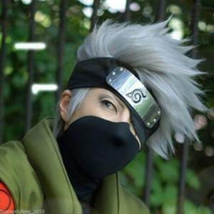 Cabelo prateado Naruto Hatake Kakashi Peruca Cosplay + Headband + Mask Veil