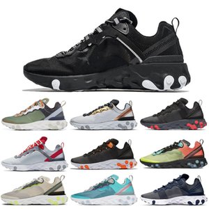 React Element 55 87 Running Shoes Triple Black White Midnight Navy Orange Royal Tint Hyper Fusion Women Mens Trainer Sports Sneakers 36-45