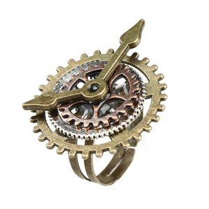 1pcs Punk Rétro Charme Steampunk Vitesse Doigté Vintage Montre Horloge Anneaux De Cuivre Bijoux De Mode De Partie pour les Femmes Hommes