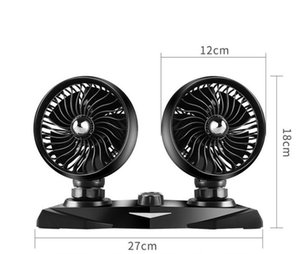 Car fan car with double head 24V large truck van 12V car inside the cooling powerful usb electric fan