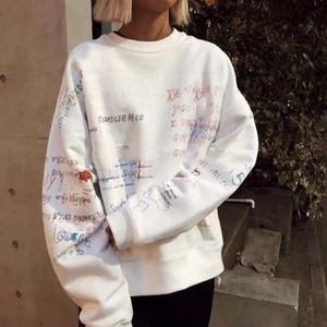 Fashion-West-Season5 x EDR CALABASAS Von Hand gezeichnet Doodles Pullover lose beiläufige Art und Weise Hip-Hop Street Sport sweartshirt M-XL HFLSWY084