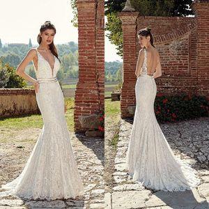 Elegant 2019 Vintage Lace Mermaid Wedding Dresses Spaghetti Straps V Neck Pearls Sweep Train Wedding Bridal Gowns vestido de novia BA0788