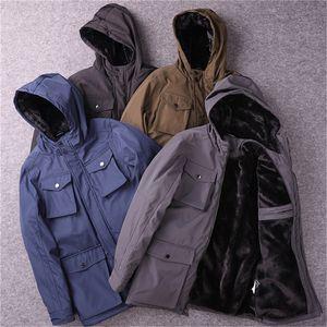 Plush Mens Designer Coats Inverno Casual Waterproof soltas Sólidos Quente Cor velo Pockets Manga comprida com capuz Zipper Moda Mens Coats