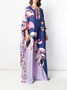women's Luxury Jersey Silk maxi Dress Women's 3 4 sleeve Charming Geometric Print Spandex Stretchable Signature